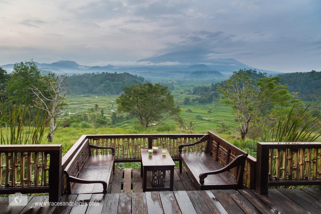 Aublick vom Restaurant Bali Asli auf die Reisterrassen von Tirtagangga