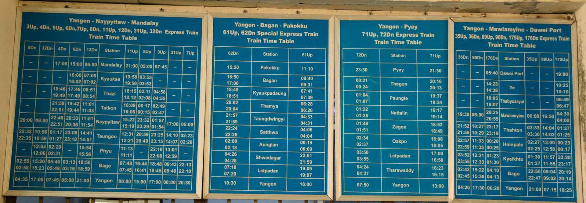 Zug Fahrplan Yangon