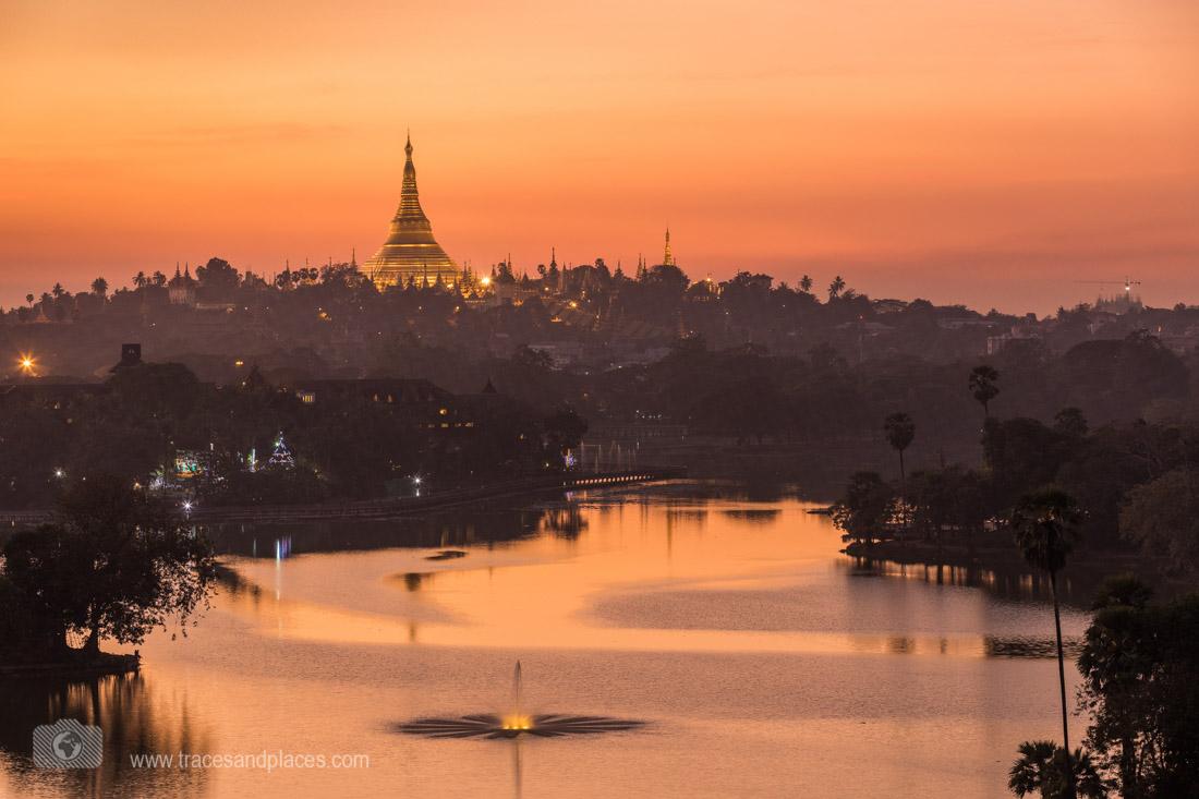 myanmar-Yangon mit Shwedagon Pagode