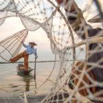 Fischer Inle-See mit Netzen